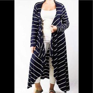 Sweaters - Plus Size Navy Open Front Stripe Cardigan